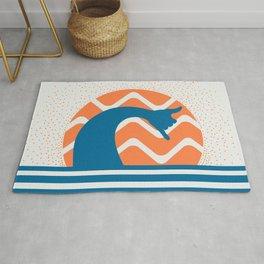 Hang Loose Wave // Sun Surfer Shaka Beach Retro Graphic Design Horizontal Daze Waves Rug