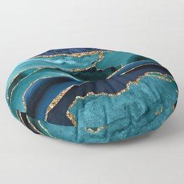 Ocean Blue Mermaid Marble Floor Pillow