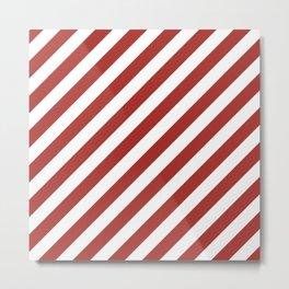 Diagonal Stripes (Maroon & White Pattern) Metal Print