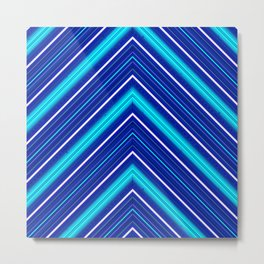 Morn Diagonal Chevron Sripes Shades of Blue Metal Print
