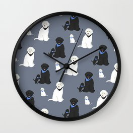 Labradoodle black and white Wall Clock