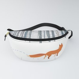 Fox in the white snow winter forest illustration Fanny Pack