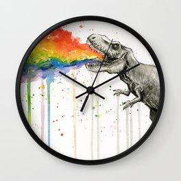 T-Rex Dinosaur Vomits Rainbow Wall Clock