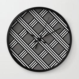 Pantone Pewter, Black & White Diagonal Stripes Lattice Pattern Wall Clock