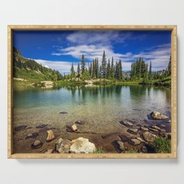 Mountain Lake in the Mt Rainier National Park Serving Tray