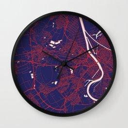Ludwigshafen am Rhein, Germany, Blue, White, City, Map Wall Clock