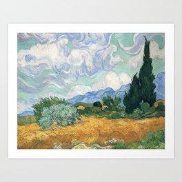 Van Gogh A Wheatfield With Cypresses Sept 1889 Art Print