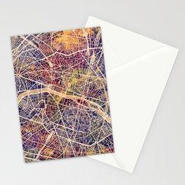 Paris France City Map Stationery Cards