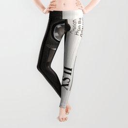Cassette Tape Black And White #decor #society6 #buyart Leggings