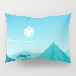 Cartoon Mountains Day D20 Dice Sun Tabletop RPG Landscape Pillow Sham