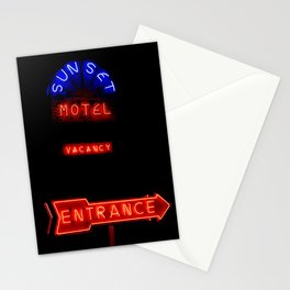 "Memories of Route 66 in Neon ""Sunset Motel""  Stationery Cards"