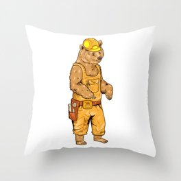 Construction Worker Grizzly Bear Throw Pillow