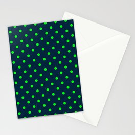 Navy and Neon Lime Green Polka Dots Stationery Cards