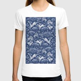 Hares Field, Winter Animals Rabbits Pattern Wool Texture Navy Blue T-shirt