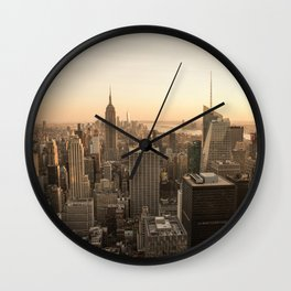 Sunset at New York   Rockefeller   Empire State Building   Photography   Art print   Photo print Wall Clock