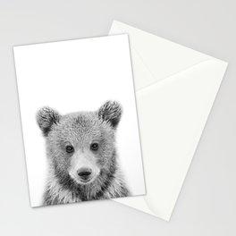 Baby Bear Black & White, Woodland Nursery Decor, Baby Animals Art Print by Synplus Stationery Cards