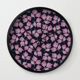 Maroon Leaves Wall Clock