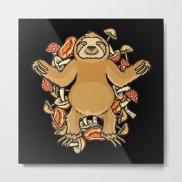 Mushroom Picker Funny Sloth Gift Idea Metal Print