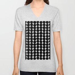 Midcentury Modern Dots Black and White Unisex V-Neck