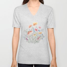 wild flower bouquet and blue bird- ink and watercolor 2 Unisex V-Neck