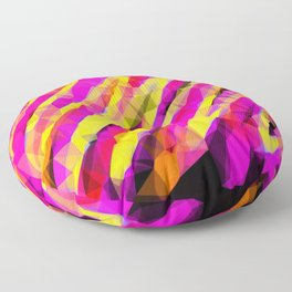 psychedelic geometric polygon abstract in pink yellow orange black Floor Pillow