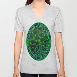 Fractal Descent #3 - Geometric Optical Illusion Psychedelic Void Trippy Colorful Design Unisex V-Neck