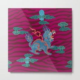 Foo Dragon on Magenta Metal Print