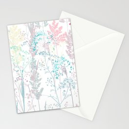 Summer mood, rustic vector pattern colorful pastel plants,  Stationery Cards