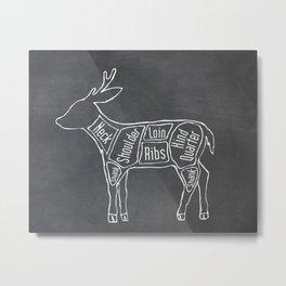 Venison Butcher Diagram (Deer Meat Chart) Metal Print