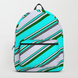 Dim Gray, Lavender, Dark Green, and Cyan Colored Lined/Striped Pattern Backpack