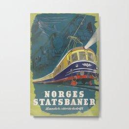 Norges Statsbaner Vintage Travel Poster Metal Print