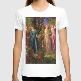 Rose Garden Tapestry Gather Ye Rosebuds While Ye May by Thomas Edwin Mostyn T-shirt