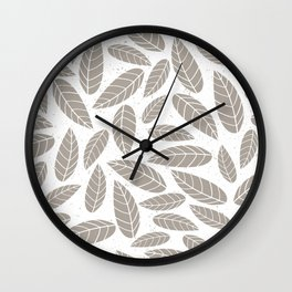Tan on White Natural Woodsy Outdoors Leaves Wall Clock