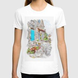 Aquarelle sketch art. Town cobbled street view, region of Istria, Croatia T-shirt