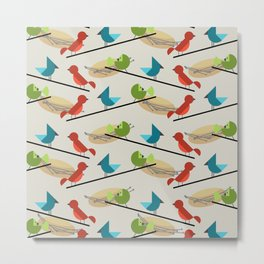 Mid Century Modern Birds Metal Print