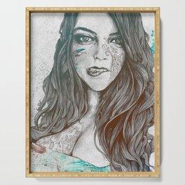 U-Turn: turquoise | mandala tattoo woman portrait Serving Tray