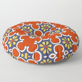 Talavera Mexican Bold Yellow Flora with Red Background Floor Pillow