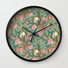 Poinciana Tropical Summer // Hand drawn Pattern Wall Clock