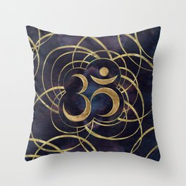 Geometric Om Symbol Gold and Labradorite Throw Pillow