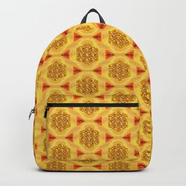 Golden yellow and orange geometrical and decorative pattern artwork Backpack