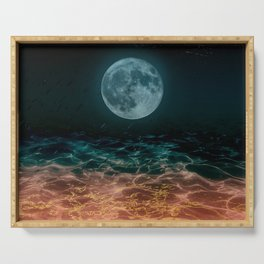 Dreamy Moon under Golden Water Serving Tray