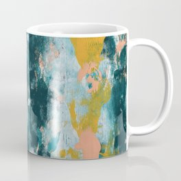 026: a vibrant abstract design in teal peach and yellow by Alyssa Hamilton Art Coffee Mug