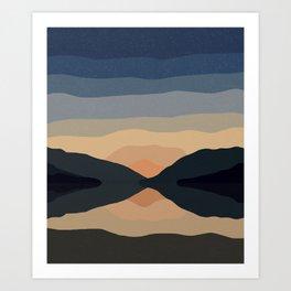 Sunset Mountain Reflection Art Print