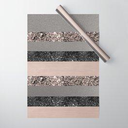 Blush Glitter Glam Stripes #1 #shiny #decor #art #society6 Wrapping Paper