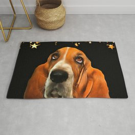 A Basset Hound. (Painting.) Rug