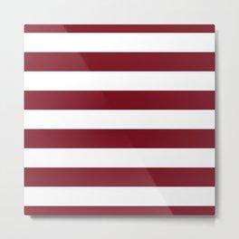 Deep Red Pear and White Wide Horizontal Cabana Tent Stripe Metal Print