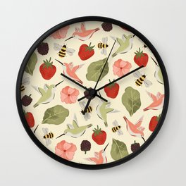 Hummingbirds in the Garden Pattern Wall Clock