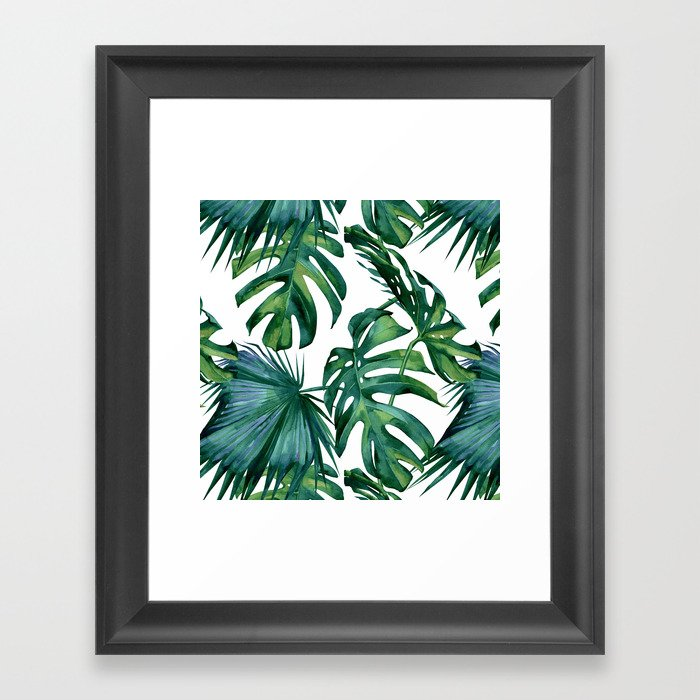 Classic Palm Leaves Tropical Jungle Green Gerahmter Kunstdruck