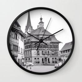 Stein am Rhein,Switzerland - Black and White Wall Clock