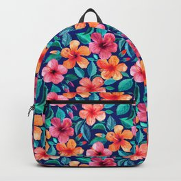 Colorful Watercolor Hibiscus on Indigo Blue Backpack